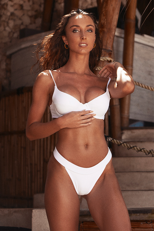 Push up bikini top white and high waisted bottom