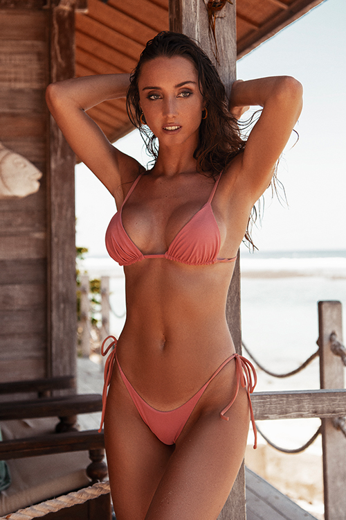 Triangle bikini top pink and high waisted bottom