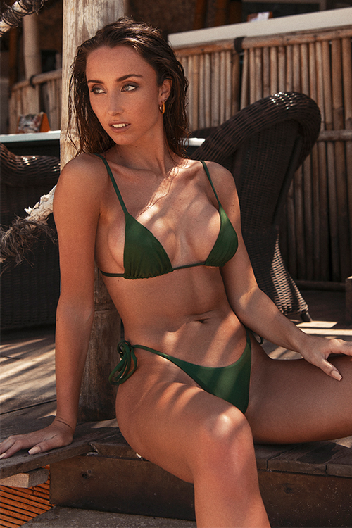 Triangle bikini top army green and high waisted bottom