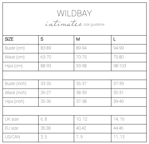 Size guideline WILDBAY intimates